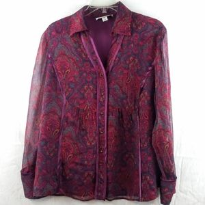 Coldwater creek sheer button red blouse size PXL
